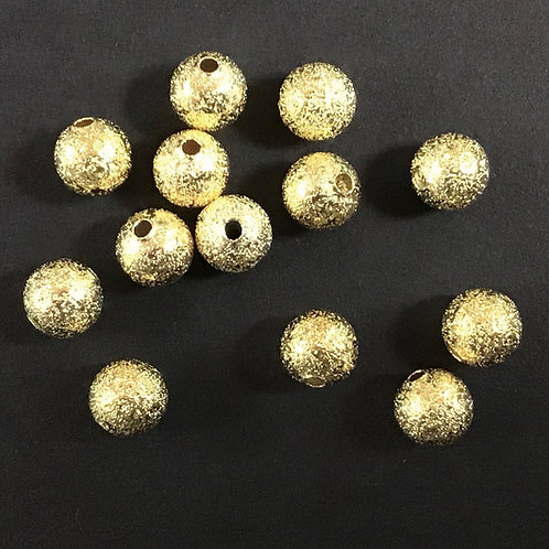 8mm Stardust Ball Beads, Gold Plated - Pack of 20