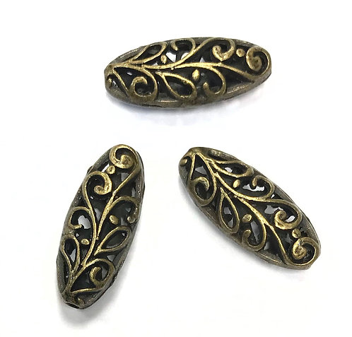 Hollow Oval Beads, Bronze Tone - Pack of 6
