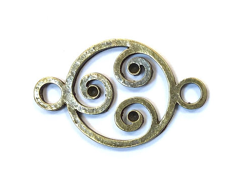 Swirl Connector, Bronze Tone
