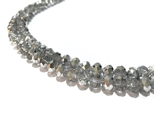 crystal glass silver rondelle beads 8mm