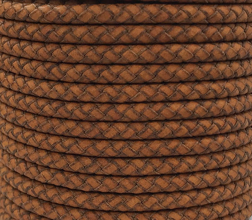 Braided Leather Cord 5mm - Vintage Tan