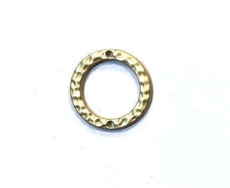 Hammered Ring Connector/Link, Matte Gold