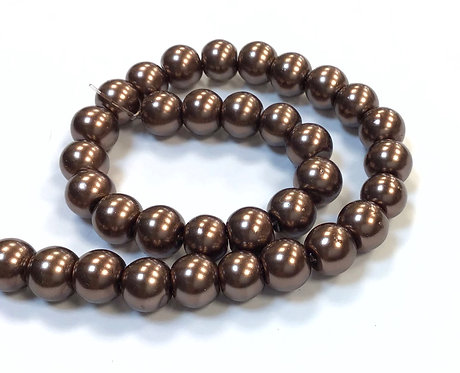 Glass Pearl Beads, Brown - 8mm