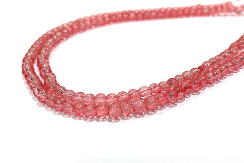 4mm crackle glass beads pink