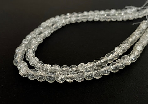 6mm crackle glass beads clear