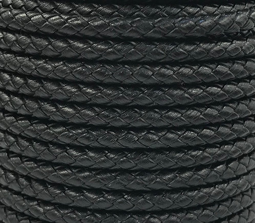 Braided Leather Cord 5mm - Black