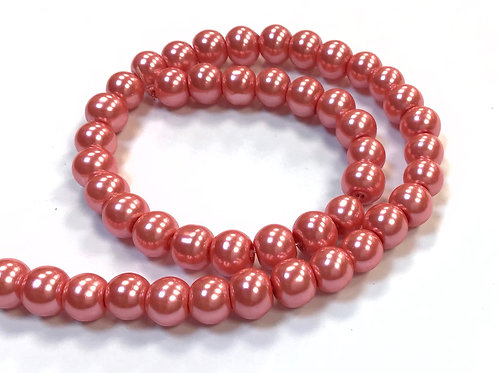 Glass Pearl Beads, Salmon - 6mm