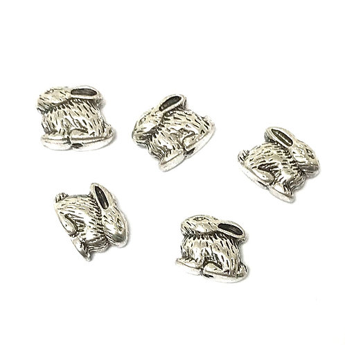 Rabbit Beads, Silver Tone - Pack of 10