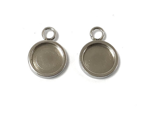 Stainless Steel Pendant/Charm Setting - Fits 8mm