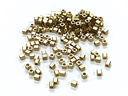 Cube Beads, Gold Plated - Pack of 180