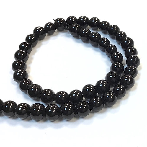 Glass Pearl Beads, Black -6mm