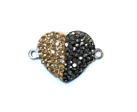 Heart Connector with Rhinestones, Silver Tone