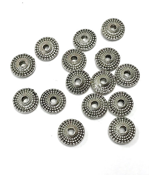 Flat Disc Beads, Silver Tone - Pack of 20