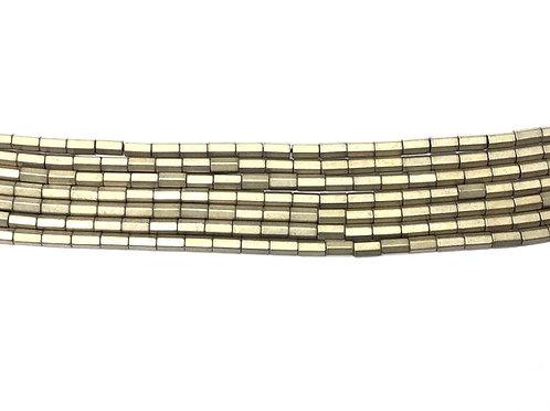 5x3mm Hematite Hexagonal Beads - Matte Gold