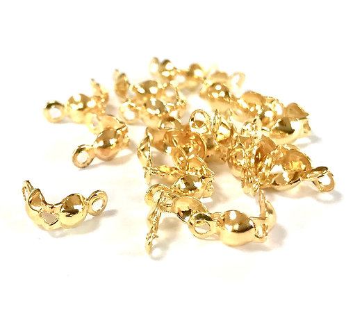 Clam Shell Calottes - Gold Plated