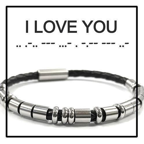 I LOVE YOU - Morse Code Message Bracelet