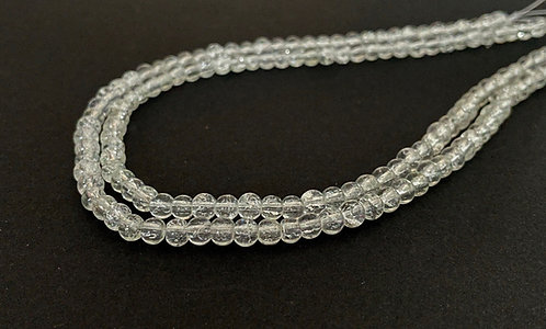 4mm crackle glass beads clear