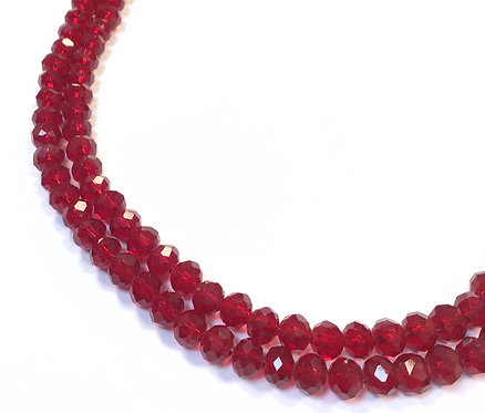 Crystal Glass Rondelle Beads, Red - 6mm
