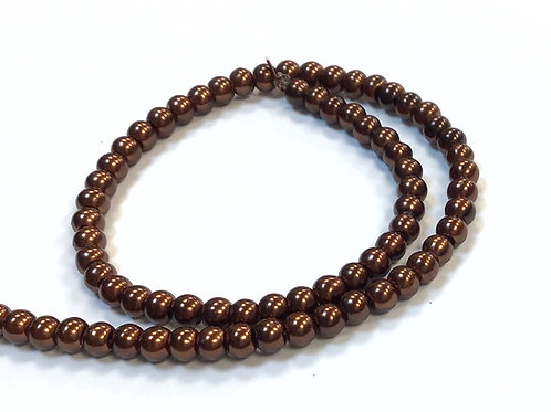 Glass Pearl Beads, Brown - 4mm