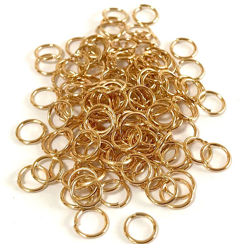 7mm Jump Rings (0.7mm) - Light Gold Plated