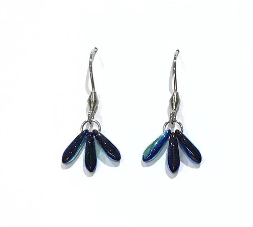 handmade electric blue fan earrings