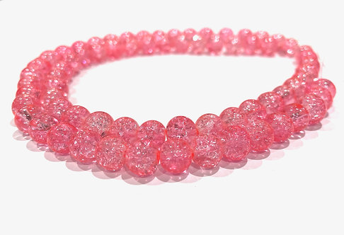 pink crackle glass beads 8mm