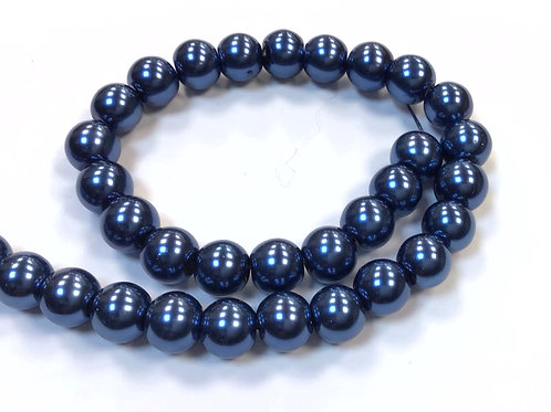 Glass Pearl Beads, Blue - 8mm