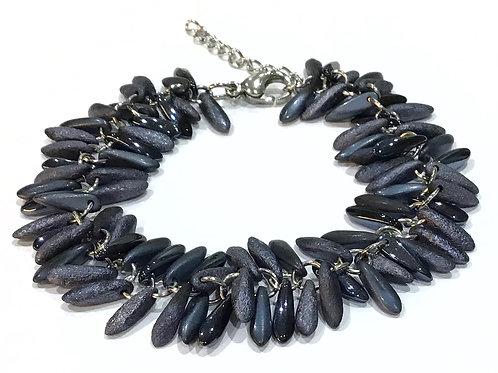 handmade blue feather bracelet