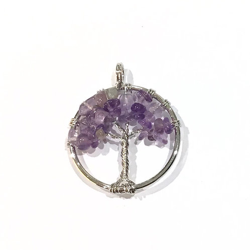 wire tree amethyst pendant
