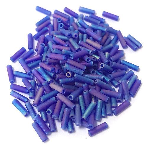 Miyuki Bugle Beads - Matte Transparent Cobalt