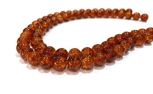 burnt orange crackle glass beads 8mm