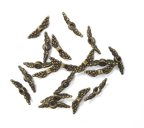 Tiny Wing Beads, Bronze Tone - Pack of 40