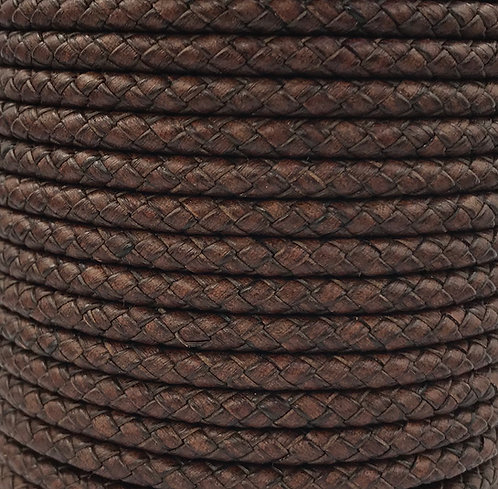 Braided Leather Cord 5mm - Vintage Brown