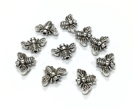 Bee Beads, Silver Tone - Pack of 15