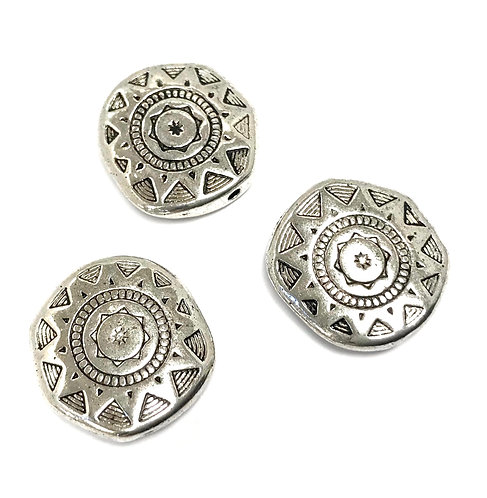Sun Disc Beads, Silver Tone - Pack of 6