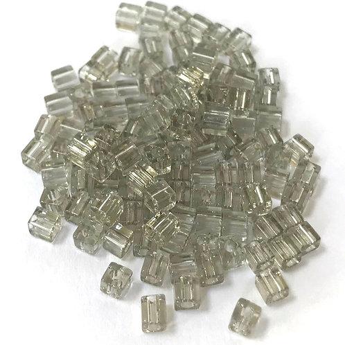 Miyuki 3 x 3 Square Beads - Transparent Grey