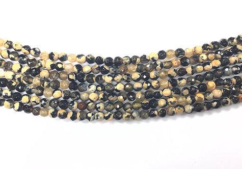 4mm Agate Beads - Wheat/Black