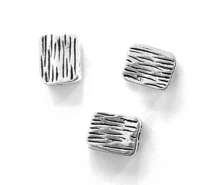 Rectangle Beads, Silver Tone - Pack of 8