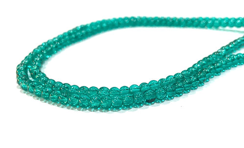 4mm crackle glass beads green
