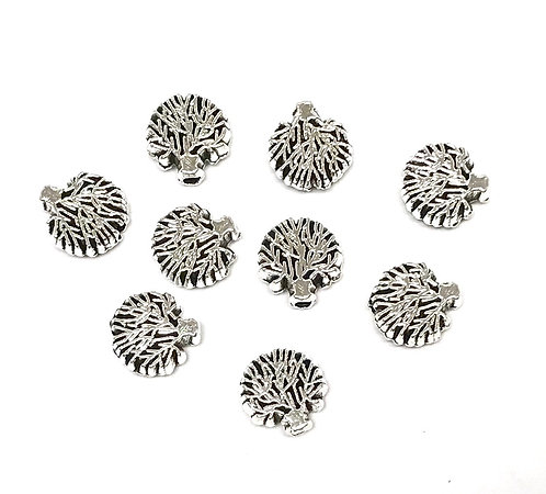 Small Tree Beads, Silver Tone - Pack of 10