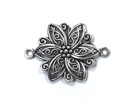 Flower Connector, Silver Tone