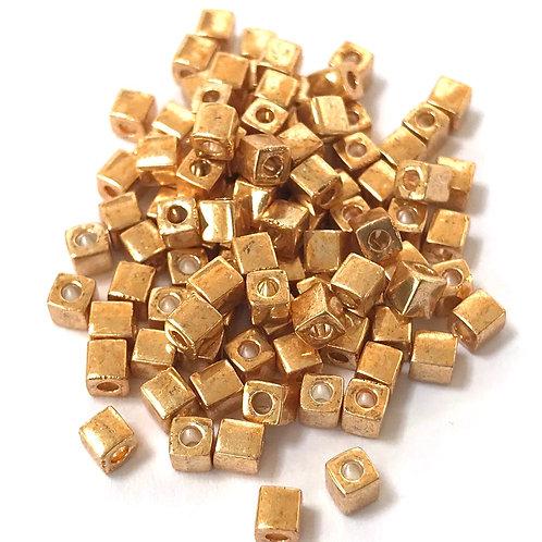 Miyuki 3 x 3 Square Beads - Galvanised Gold