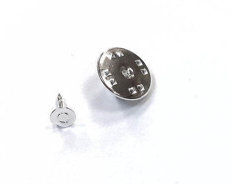 Silver Plated Push Pin Brooch Setting - Pad Size 4.5mm