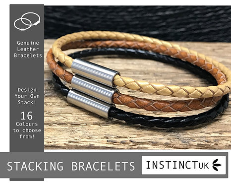 Stacking Leather Bracelets - 3 Bracelets