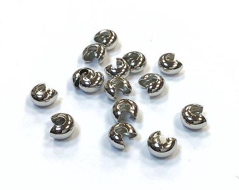 Crimp Covers, Silver Tone - Size 4mm