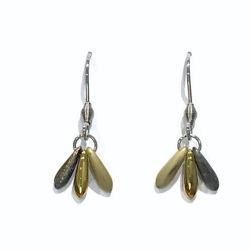 handmade gold fan earrings