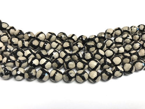 8mm Agate Beads - Black/Beige