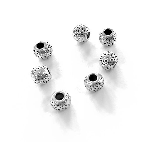 Round Dot Beads, Silver Tone - Pack of 15