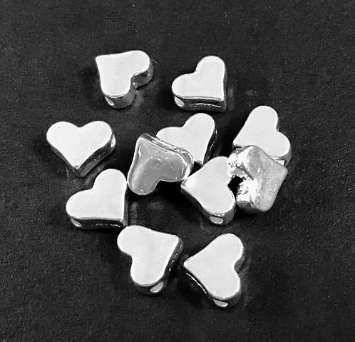 Heart Beads, Silver Plated - Pack of 12