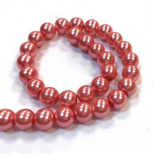Glass Pearl Beads, Salmon - 8mm